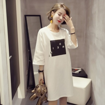 Women's Korean-style Stylish Short Sleeve Mid Length T-Shirt (823 (white))