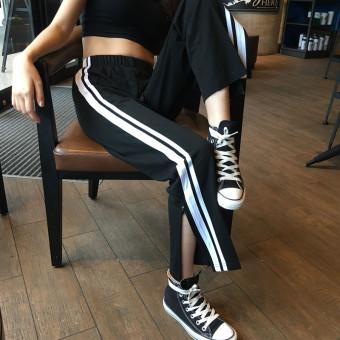 Women's Korean-style Stylish Slit Wide Leg Pants - Black