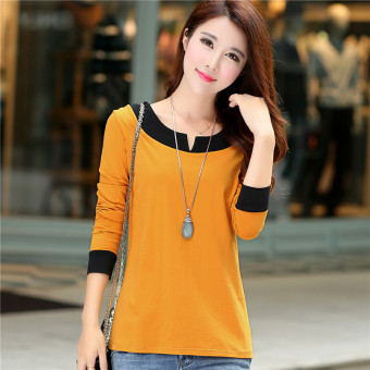 Women's Korean-style V-Neck Cotton Long Sleeve Loose T-Shirt (Orange)