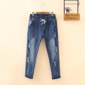 Women's Large Plus Size Korean Hole long Jeans Denim Pencil Pants - intl