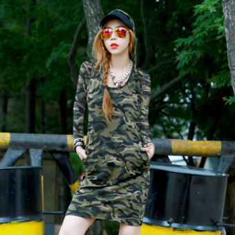 Women's Leisure Camouflage Hoodie Low Cut Sheath 100% Cotton Long Sleeve Midi Dress