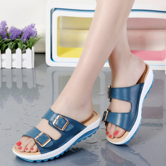 Women's Leisure Non-slip Soft and Thick-soled Leather Sandal (Blue)