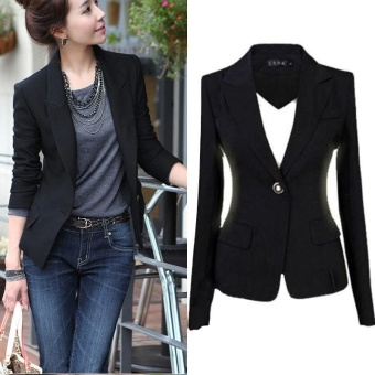 Women's Long Sleeve Slim Business Leisure Lapel Blazer Suit Jacket Coat Outwear Black - intl