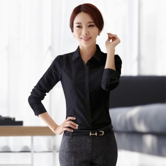 Women's Long Sleeves Fashion Black Slim Business Blouse - intl
