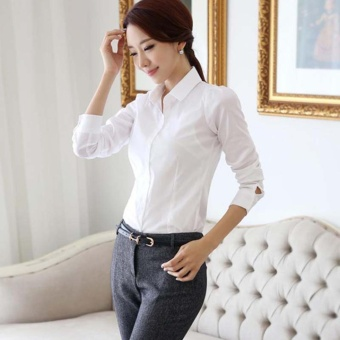 Women's Long Sleeves White Fashion Slim Business Blouse Plus Size - intl