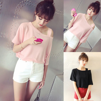 Women's Loose Off Shoulder Short Sleeve T-Shirt - White - Pink (White)