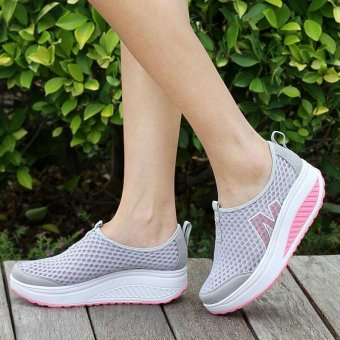 Women's Mesh Shape Ups Walking Fitness Comfort Walking Wedges Sneaker Platform Casual Shoes Women Women's Network breathable swing cutout casual height increasing wrapping air mesh shake shoes - intl
