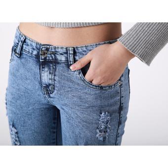 Women's New Summer Trend Scratches Fit Capri Pants(Acid Blue) - 2