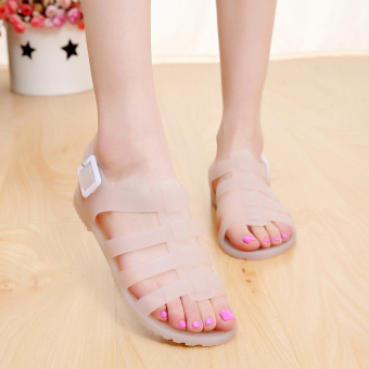 Women's Non Slip Flat Transparent Jelly Sandal (Lotus color)