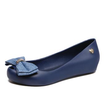 Women's Peep Toe Flat Jelly Shoes (Dark blue color)