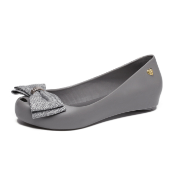 Women's Peep Toe Flat Jelly Shoes (Light gray color)