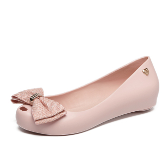 Women's Peep Toe Flat Jelly Shoes (Nude color)