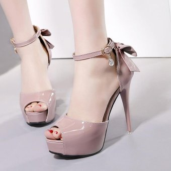 Women's Peep Toe Platform Evening High Heels Korean Sandals with Bow Pink - intl