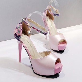 Women's Peep Toe Platform High Heels Elegant Sandals with Flowers Pink - intl - 4
