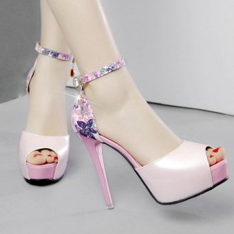 Women's Peep Toe Platform High Heels Elegant Sandals with Flowers Pink - intl - 2