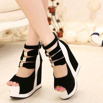 Women's Peep Toe Wedge Sandals European Shoes White - intl - 3