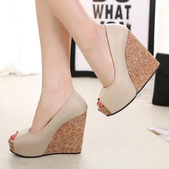 Women's Peep Toe Wedge Shoes Leisure Party High Heels Apricot - intl - 3