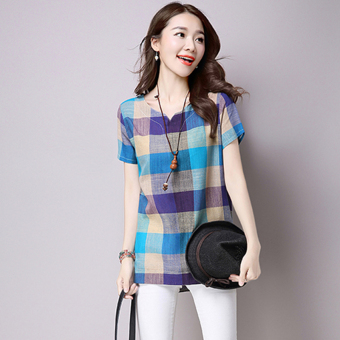 Women's Plaid V-Neck Linen Short Sleeve Mid Length Loose T-Shirt (Blue)