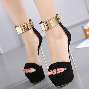 Women's Platform High Heels Fashion Party Ankle Strap Heels Black - intl