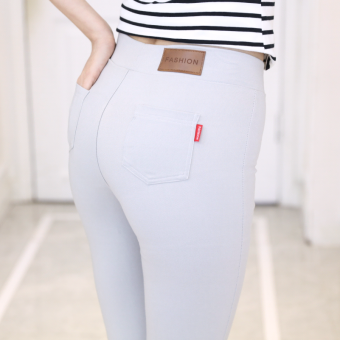 Women's Plus Size High Waist Bottom Skinny Pants Color Varies (Gray)
