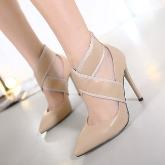 Women's Pointed Toe Stiletto Evening Shoes Slim Party High Heels Beige