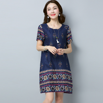 Women's Print Ramie Cotton Fabric Midi Dress (Navy)