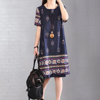 Women's Print Round Neck Short Sleeve Midi Dress (Blue)