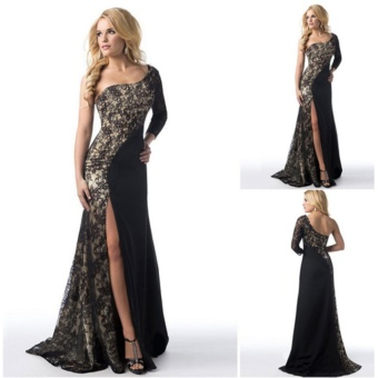 Women's Prom Gown Sexy One Shoulder Lace Long Sleeve Mermaid Slit Maxi Dress (Black) - intl - 3