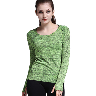 Women's quick-drying fitness clothing yoga clothes I shirt I long-sleeved t-shirt (Green)