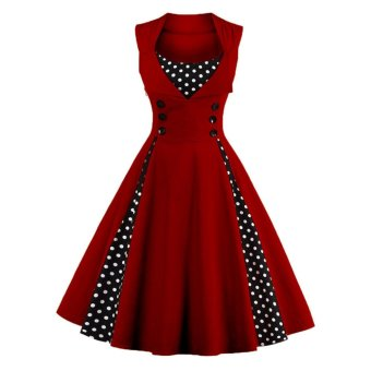 Women's Retro 50s Swing Polka Dot Pinup Rockabilly Evening Party Dress Plus Size(Wine Red) - intl
