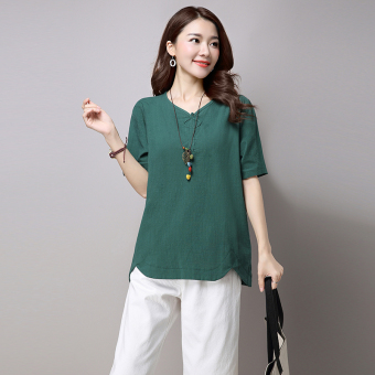 Women's Retro Solid Color V-Neck Linen Short Sleeve T-Shirt 3 Colors (Dark green color)