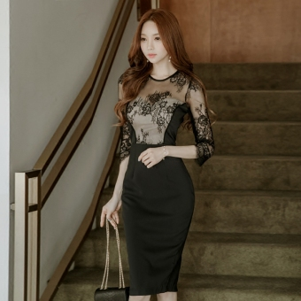 Women's Revealing Lace Slim Fit Dress - Black