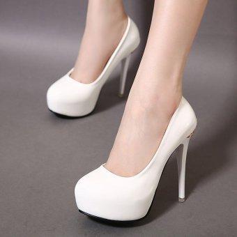 Women's Round Toe Platform Bridal High Heels Fashion Party Shoes White - INTL - 2