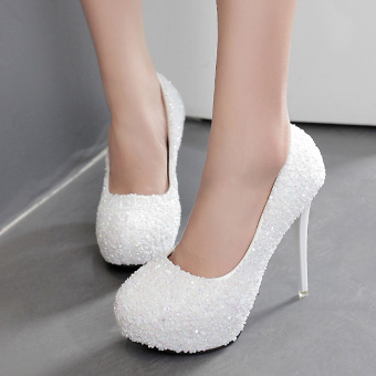 Women's Round Toe Platform Bridal High Heels Princess Party Shoes with Crystal White