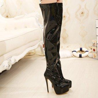 Women's Round Toe Platform High Heels London Over the knee Boots Black - intl - 5