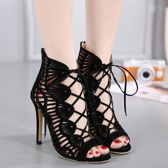 Women's Sandals European High Heels with Cut Out Black - intl