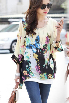 Women's Sexy Batwing Sleeve Chiffon Shirt Bohemian Tops Blouse Plus Size L-XL (Multicolor) - intl