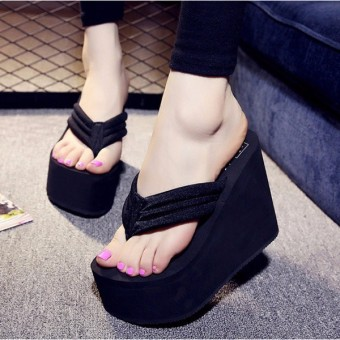 Women's Sexy High Heels Flip Flops Slippers Wedge Platform Antiskid Beach Shoes -Intl