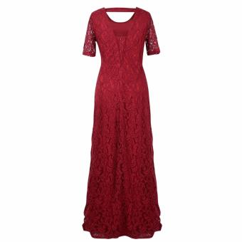 Women's Sexy Lace Long Dress Plus Size Wine Red - intl - 2