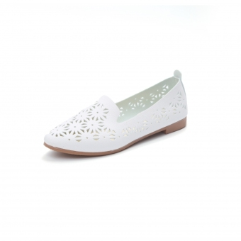 Women's Shallow Surface Mesh Surface Slip-on Flat Shoes (White)