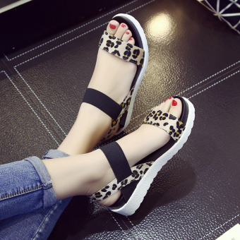 Women's Simple Open Toe Platform Sandal (Leopard)