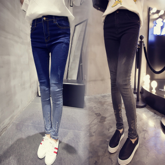 Women's Skinny Gradient Pattern Ripped Jeans (Black)