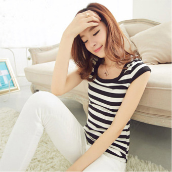 Women's Slim Fit Black White Striped Short Sleeve Tank Top