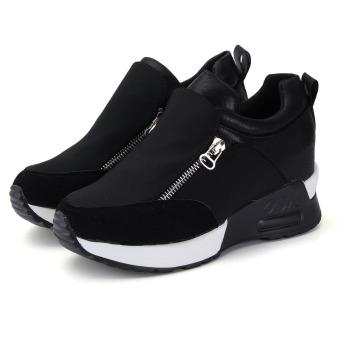 Women's Sneakers Zip Wedge Hidden Heel Sport Shoes - 4