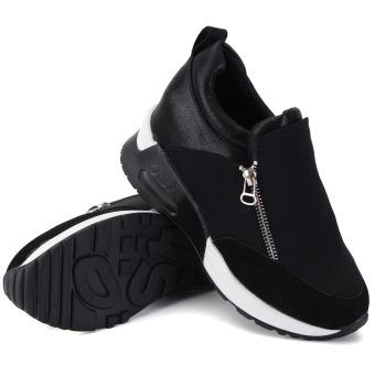 Women's Sneakers Zip Wedge Hidden Heel Sport Shoes - 2