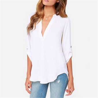 Women's Spring Summer Autumn Fashion Casual Plus Size Tops Lady's V-neck Long Sleeve Loose Roll-up sleeve Blouse (White) - intl