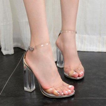 Women's Square Heel Sandals Fashion Party High Heels Silver - intl
