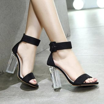 Women's Square Heel Sandals Japanese High Heels Black - intl - 5