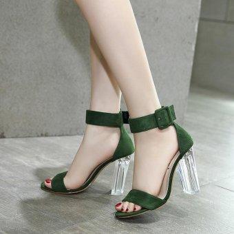 Women's Square Heel Sandals Japanese High Heels Green - intl - 2