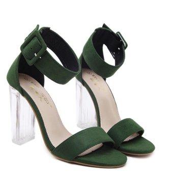 Women's Square Heel Sandals Japanese High Heels Green - intl - 5
